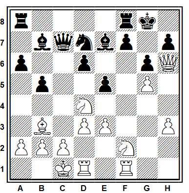 Posición de la partida de ajedrez Chunko - Drevs (Amsterdan, 1992)