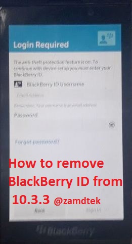 How to remove Blackberry anti theft or blackberry ID on 10.3.3