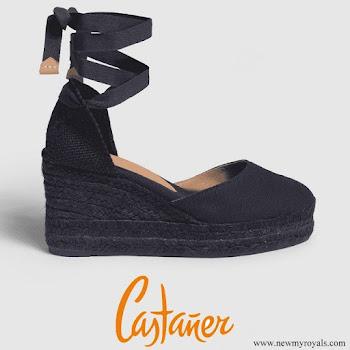 Queen Letizia wore Castañer Carina ankle tie espadrille wedges