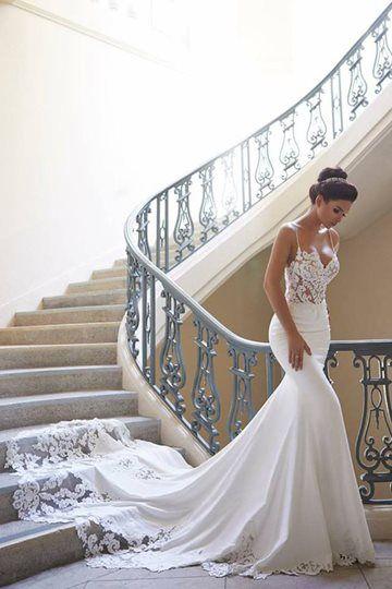 Mermaid Spaghetti Straps Lace  Wedding Dress