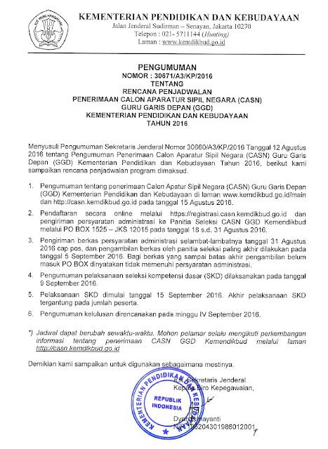 Rencana Penjadwalan Penerimaan Calon Aparatur Sipil Negara (CASN) Guru Garis Depan (GGD) Kemendikbud Tahun 2016