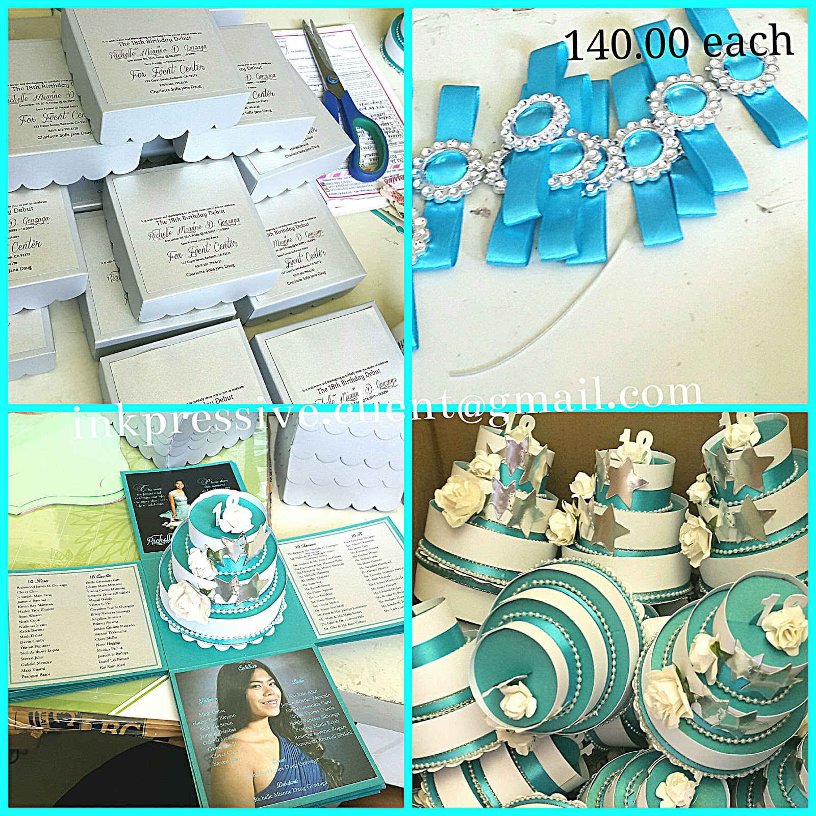 Exploding Box Invitation For Debut Silver And Turquoise