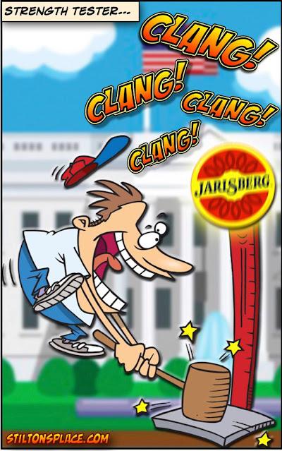 stilton's place, stilton, political, humor, conservative, cartoons, jokes, hope n' change, high striker, bell, time off