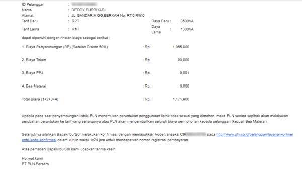 email penambahan daya listrik pln