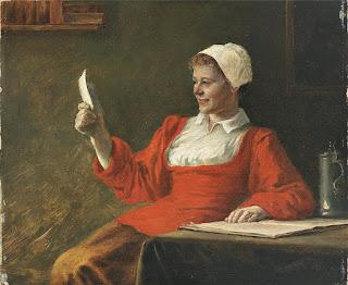 August Rieper - Женщина в красном читает письмо