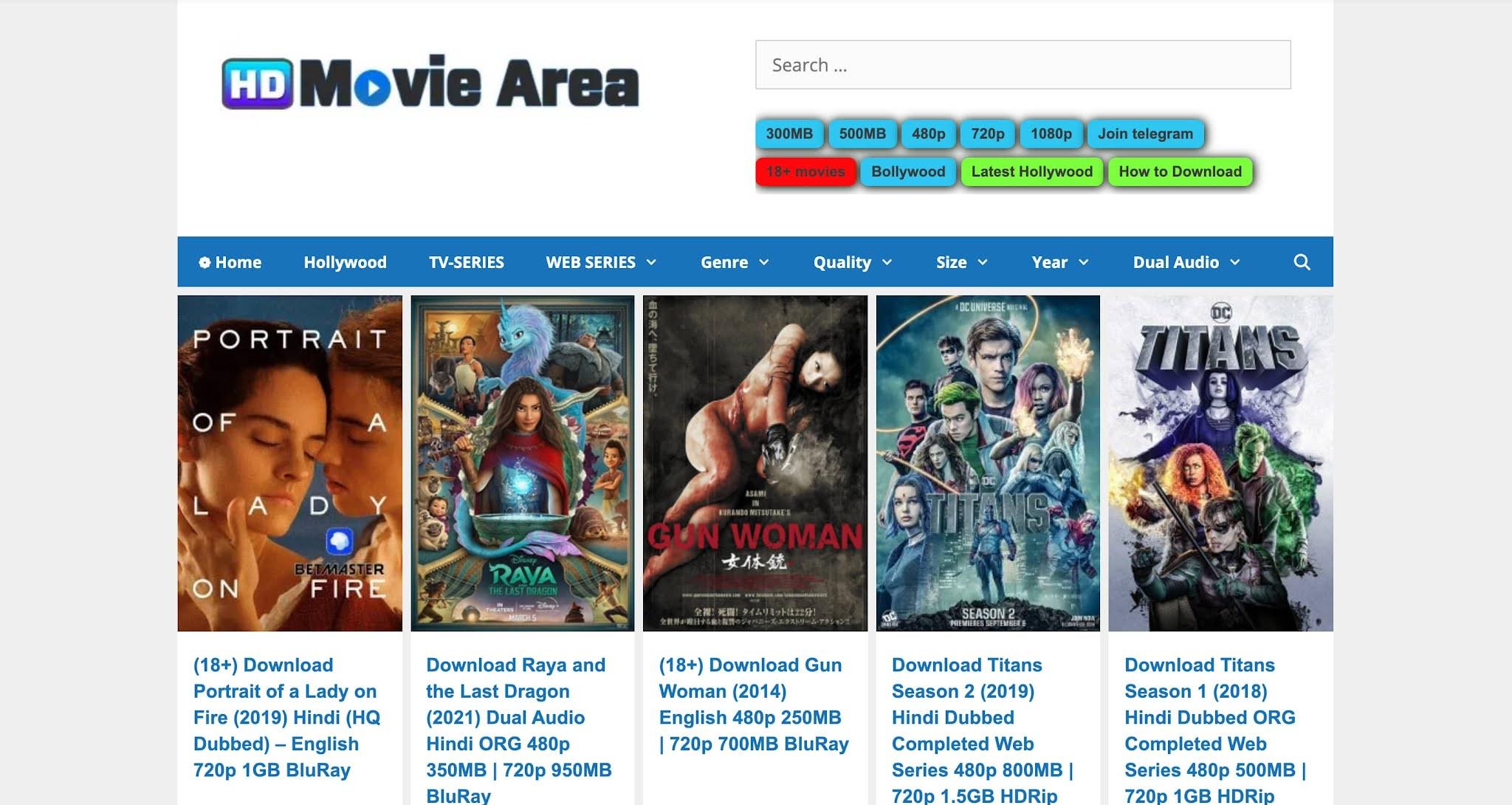 HDMovieArea new website