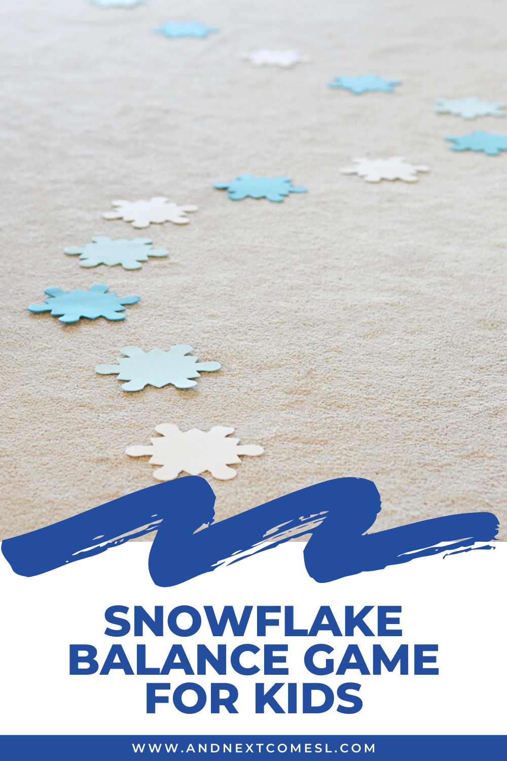 Snowflake themed balance game for kids - great for toddlers and preschoolers!