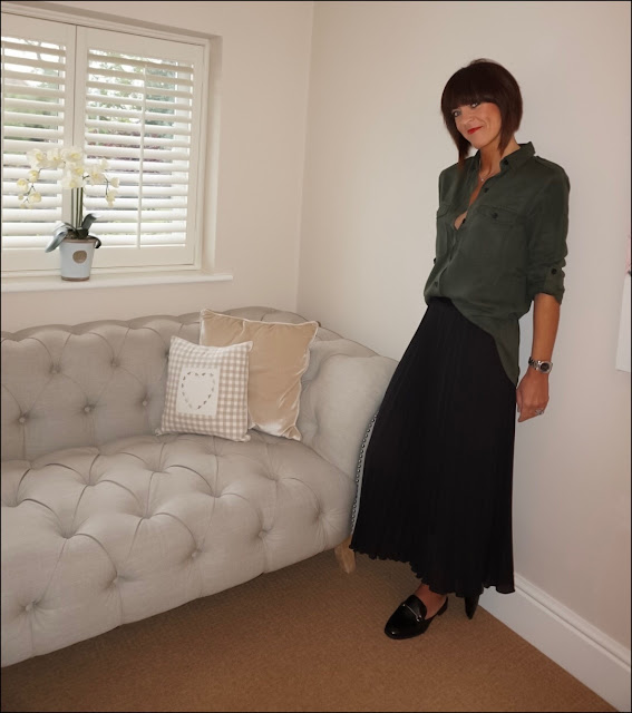 My Midlife Fashion, Zara military shirt, H&M pleated midi skirt, marks and spencer bar trim loafers