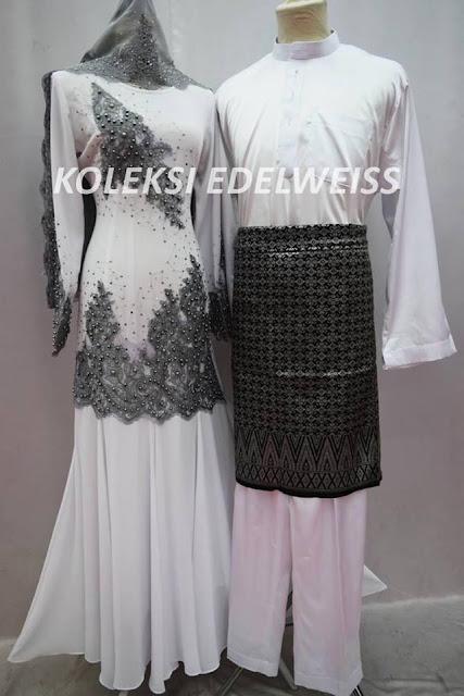 Set BAJU Dress NIkah Putih Kelabu Greysedondon Muslimah 2016