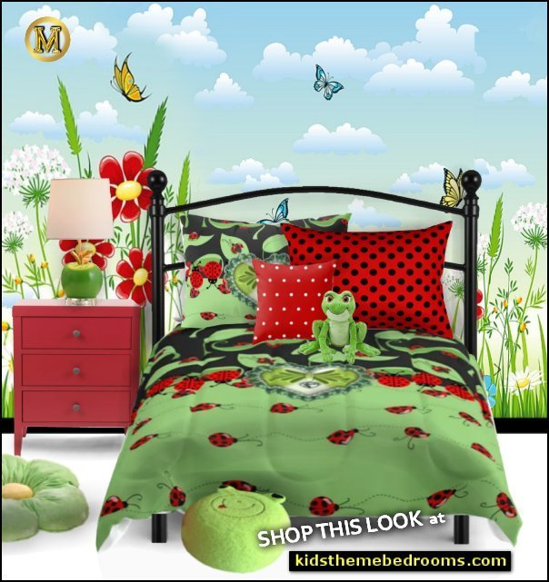ladybug bedding ladybug bedrooms  LADYBUG BEDROOM IDEAS ladybug bedroom decor LADYBUG LADYBUGS wall decals flower pillows ladybug comforter