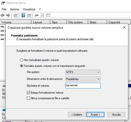 Creazione guidata nuovo volume semplice schermata Formatta partizione