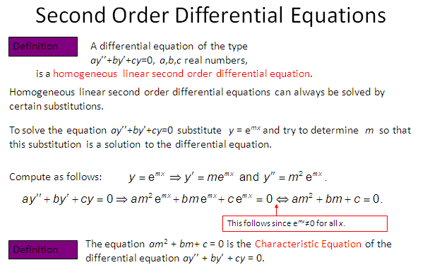 Homogeneous  Differential Equation, Second order Differential Equation,
