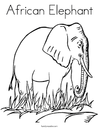 A For African Elephant Coloring Sheet For Kids
