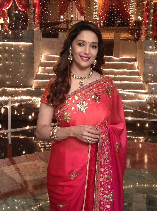 Indian Actress Hot Women Madhuri Dixit Orange Designer Saree