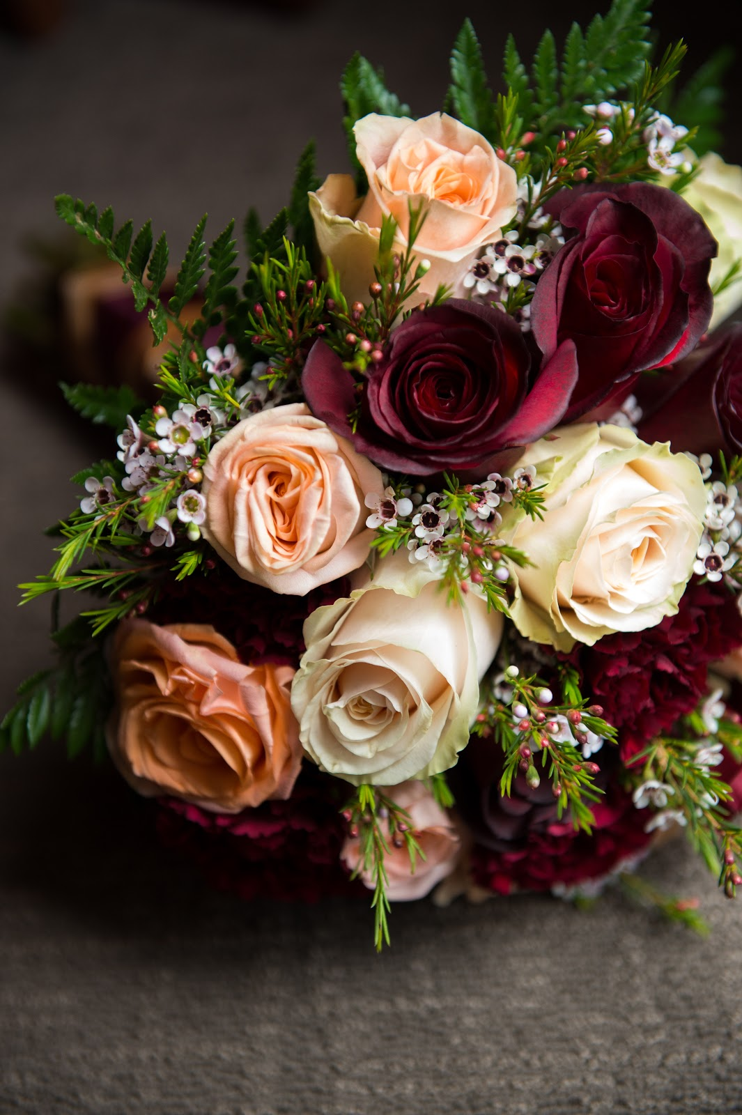 Burgundy rose gold and gold bouquet