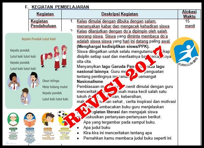 RPP Kurikulum 2013 Revisi 2017 Kelas 1 SD Dilengkapi PPK, Literasi dan HOTS  GuruSD.web.id