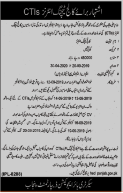Advertisement for CTI Jobs in Punjab September 2019