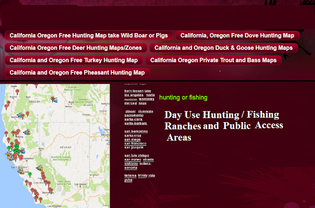 hunting fishing maps and reports Oregon and California