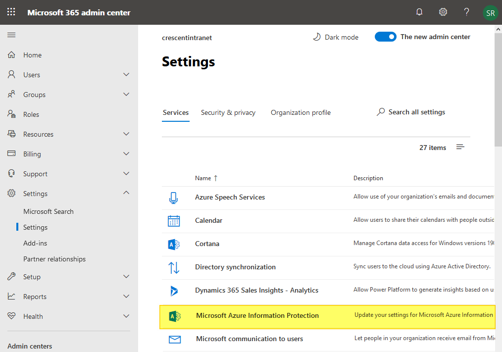 configure irm for sharepoint online