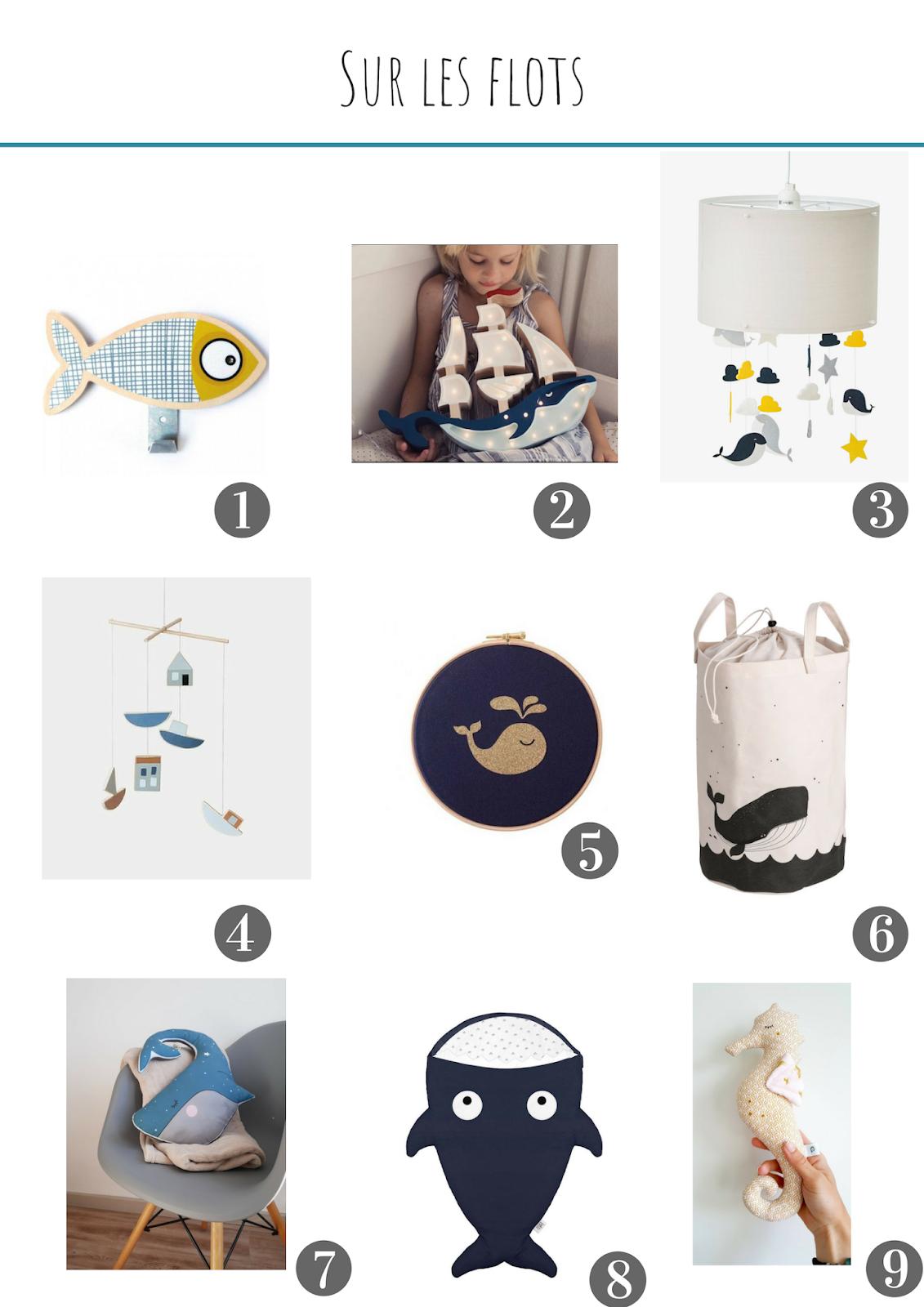 selection de decoration pour la chambre des enfants bebe la mer baleine bateau
