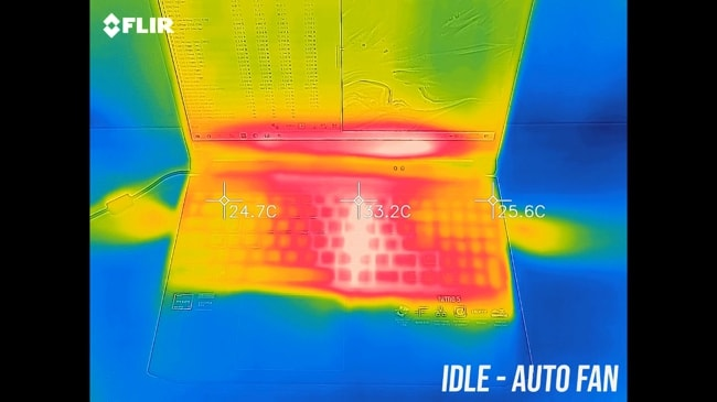 AN515's exterior temperature in idle mode at auto fan.