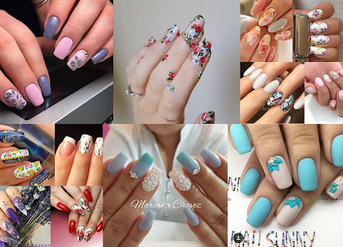 Paznokcie wzory na wiosnę / lato. Kwiaty na paznokciach. Paznokcie żelowe, paznokcie hybrydowe 2017. Wzorki na paznokcie - trendy.