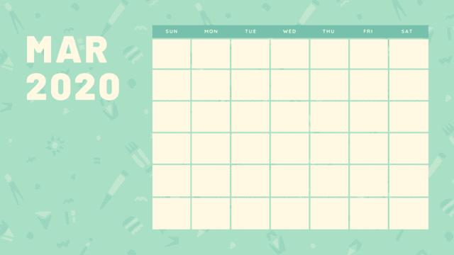 Calendario de mesa marzo 2020