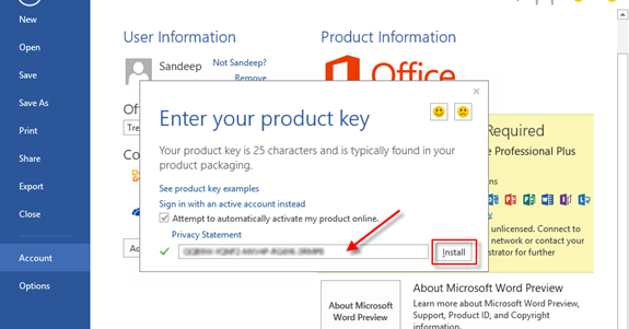 change product key office 2013 professional plus