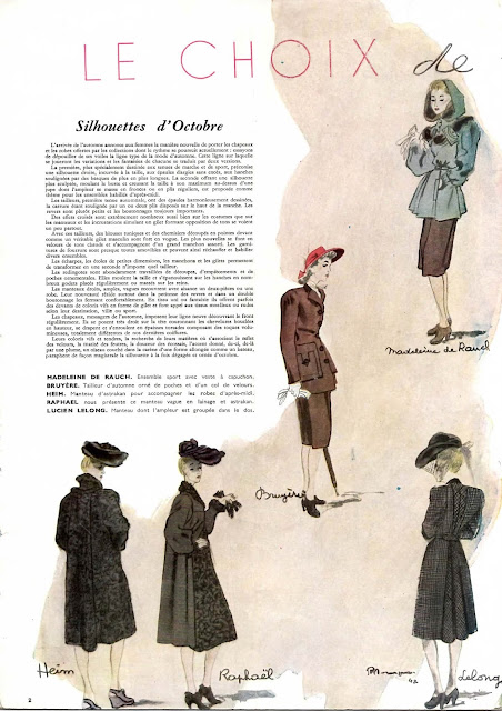 magazine mode et travaux octobre 1942 madeleine de rauel bruyère heim raphael lucien lelong