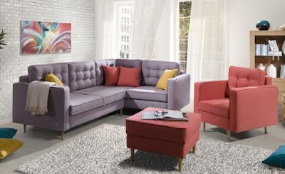 Upholstered furniture for L-shaped living room with violet sofa