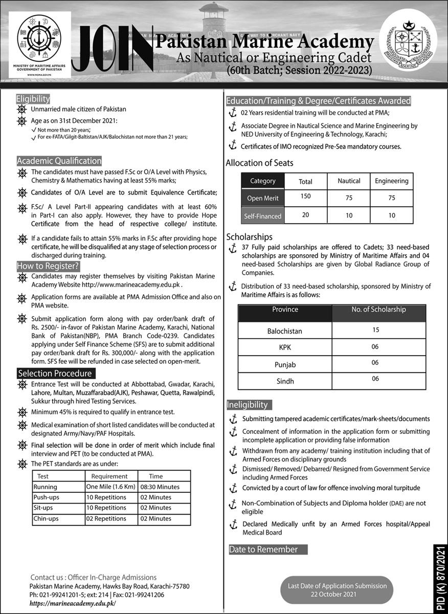 Join Pakistan Marine Academy as Nautical & Engineering Cadet 2021 | (170 Posts)