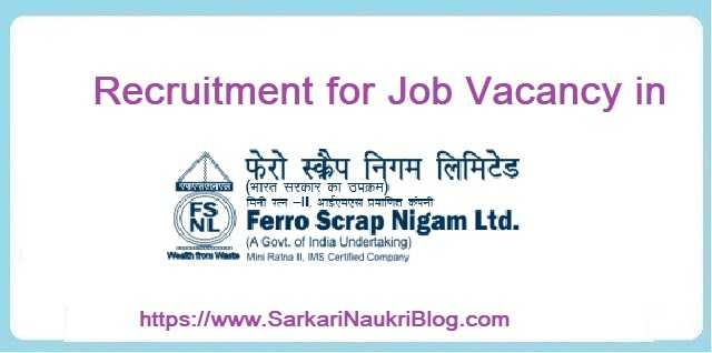 Ferro Scrap Limited Vacancy Recruitment