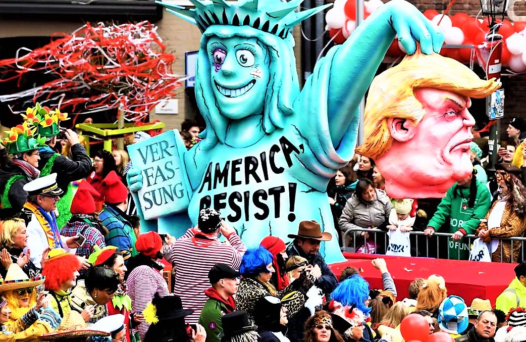 German Carnival floats, Trump.