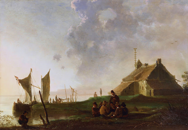 Альберт Кёйп - Пейзаж с казармой на берегу реки