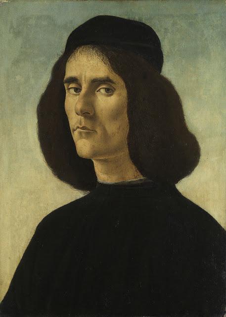 Alessandro Filipepi dit Botticelli (vers 1445 – 1510), Portrait de Michele Marullo Tarcaniota, 1490-1500, tempera et huile sur bois transposé sur toile, 48 x 35 cm, Collection Familia Guardans-Cambó