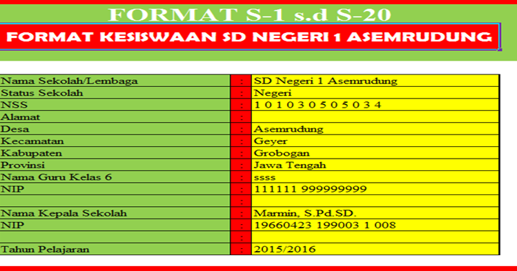 S 1 S 20 Format Administrasi Kesiswaan Kepala Sekolah Sd Negeri 1 Asemrudung