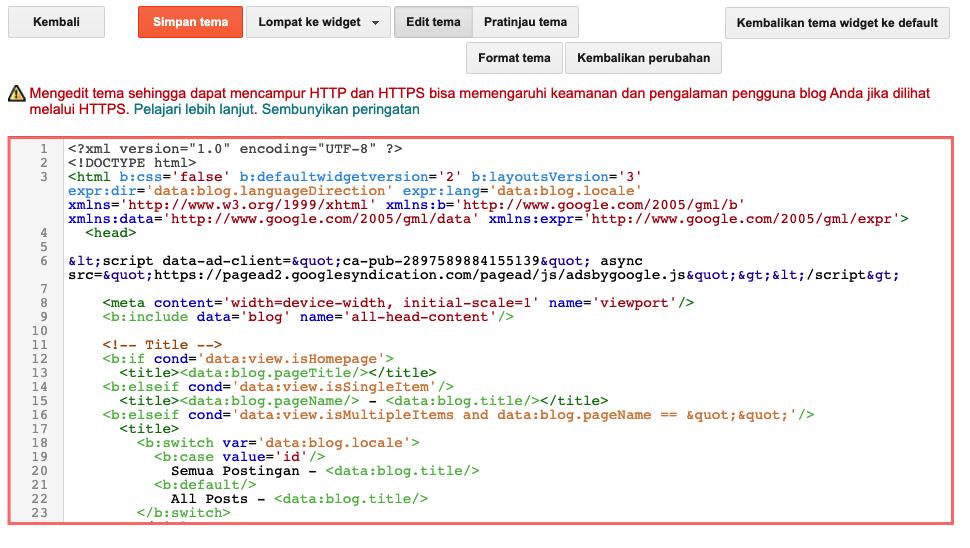 Tampilan Editor HTML untuk tampilan Blogger.