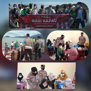 Dukung Program Kapolda Kepri guna percepat Vaksinasi Polsek Daik lingga laksanakan kegiatan Nasi Kapau