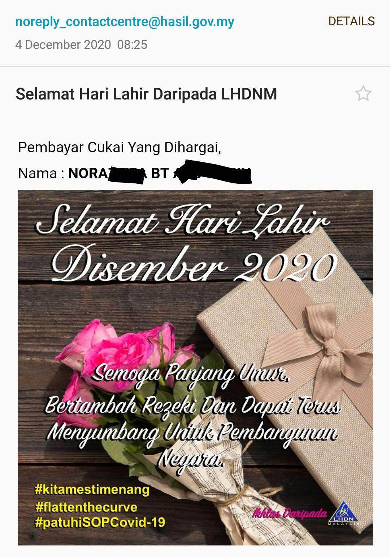 Terima Birthday Card Dari LHDN