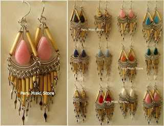 Bamboo and stone earrings