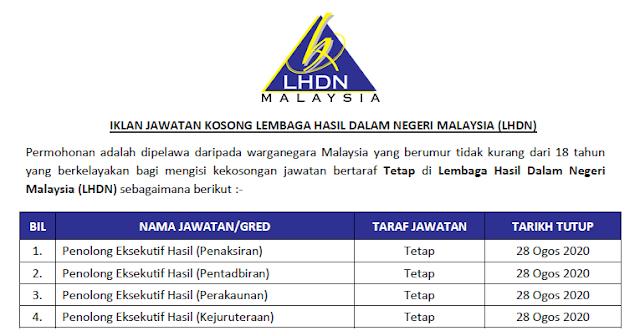 permohonan jawatan kosong lhdn malaysia 2020