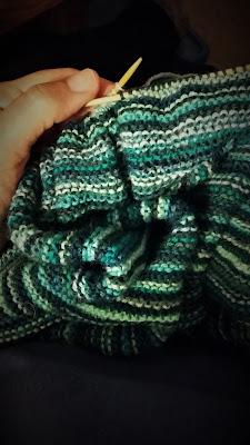 Ocean Stripes, a multicolored, striped blanket shawl, OTN