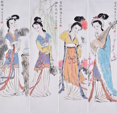 The amazing paintings of the 4 most beauties of the ancient China.