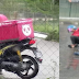 Food Delivery Rider Slips on his Motorcycle Due to Heavy Rain