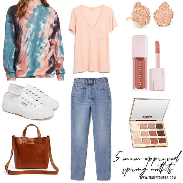 We've had some absolutely beautiful weather this week and it has me dreaming about spring and wearing something other than heavy sweaters and boots. If you can't wait to indulge in wearing something other than leggings and t-shirt like me keep reading for 5 mom approved spring outfits to wear this spring! #springfashion #springoutfits #momfashion #whattowearthisspring