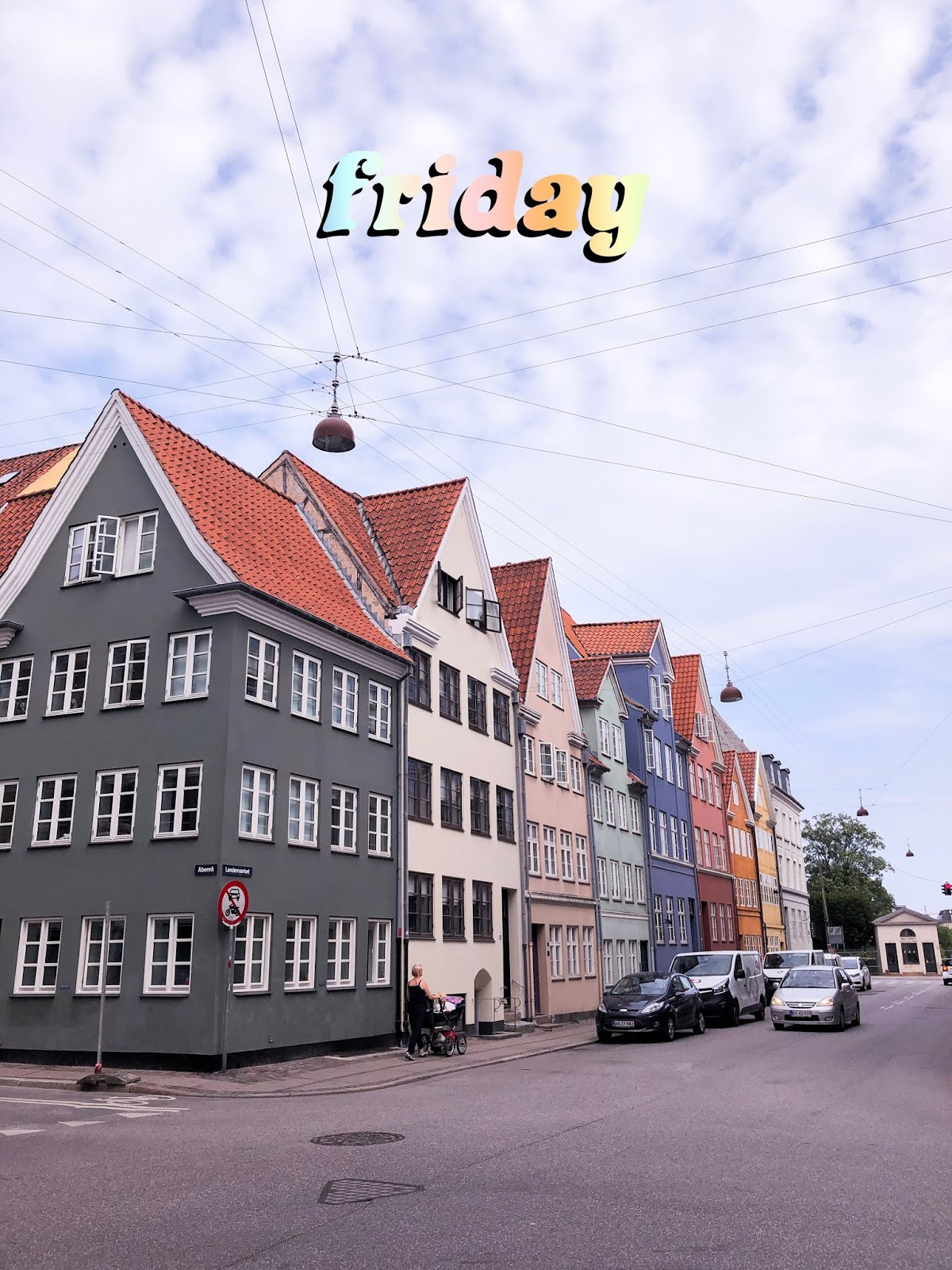colourful houses taken from street corner in Copenhagen