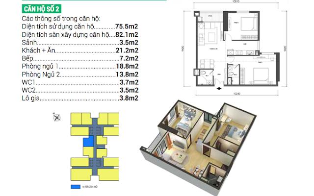 Thiết kế căn 02 Housinco Grand Tower