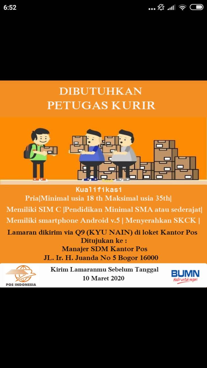 Lowongan Kerja Petugas Kurir Pos Indonesia Lockerjob