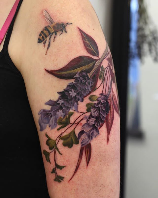 upper arm Lavender Tattoo design