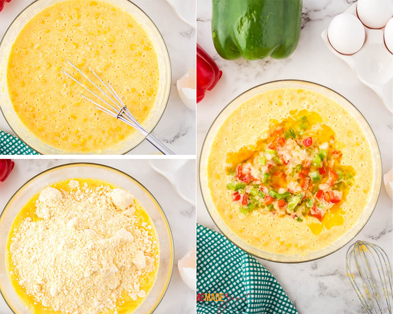 Mixing eggs with jiffy corn mix, then corn mixture and vegetables